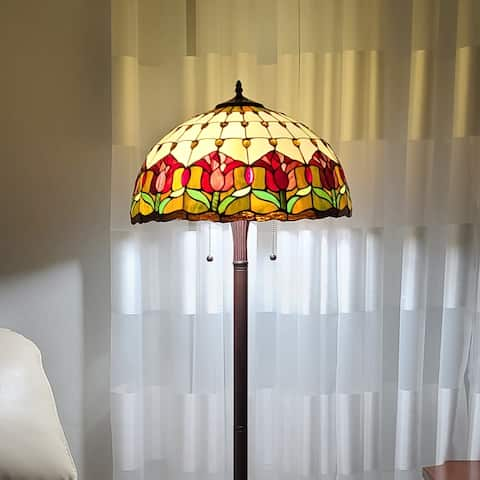 "Tiffany Style Floor Lamp 62"" Tall Stained Glass Tulip Amora AM002FL18B Amora Lighting"