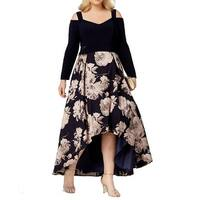 Xscape Blue Women's Size 14W Plus Floral Print High-Low Gown