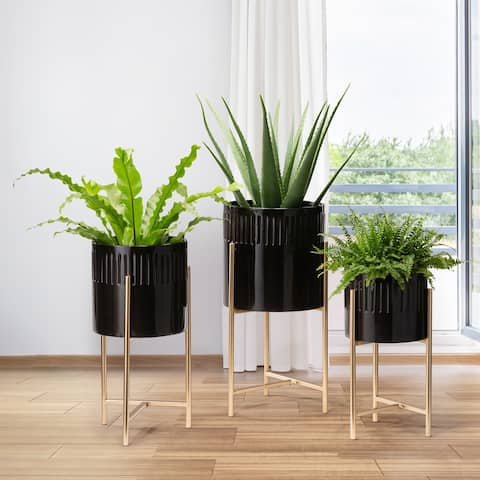 Glitzhome Set of 3 Modern Washed White Metal Plant Stands