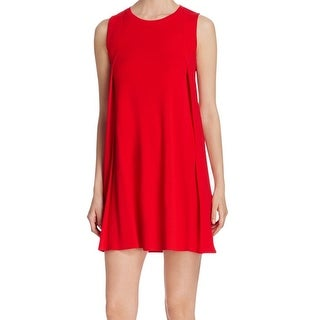 DKNY NEW Red Women's Size Small S Shift Bodice Pleat Mini Dress