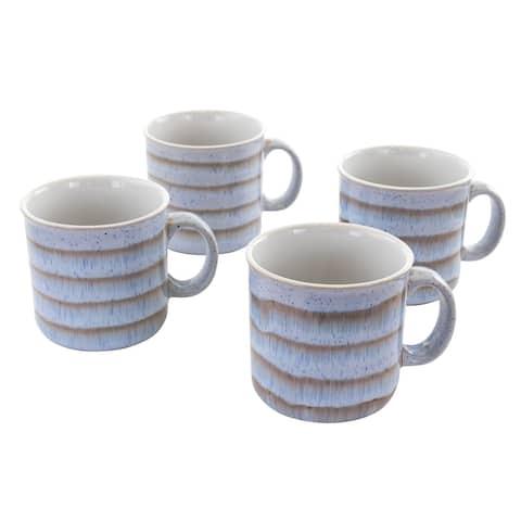 Meritage Blurry II 4 Piece 19 Ounce Round Stoneware Mug Set in Brown