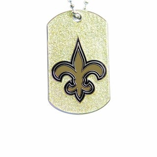 New Orleans Saints Dog Fan Tag Glitter Necklace NFL
