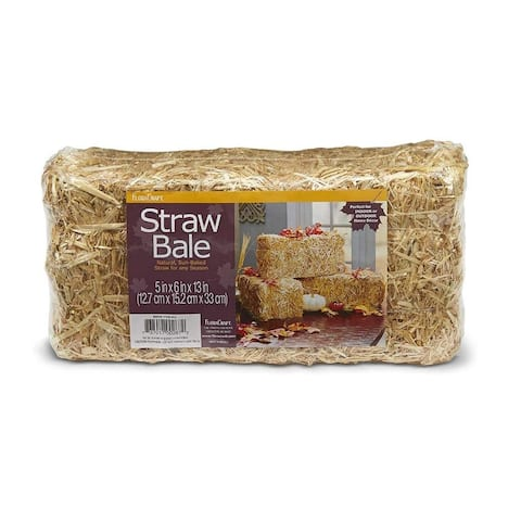 FloraCraft Decorative Straw Bale Natural 5 Inch x 6 Inch x 13 Inch - Beige - 5 x 6 x 13