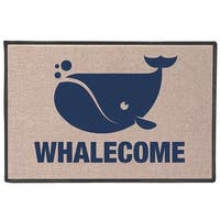 """What on Earth Whalecome Doormat Welcome Mat - Blue Whale - 27"""" x 18"""" Olefin"""