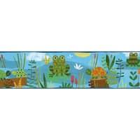 Brewster TOT46332B Kermis Blue Frog Marsh Toss Border Wallpaper - blue frog marsh - N/A