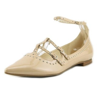 Marc Fisher Womens Aura Leather Pointed Toe Ankle Strap Ballet Flats
