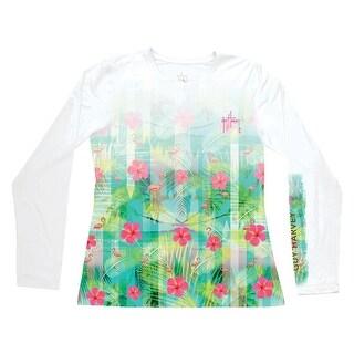 Guy Harvey Womens Flamingo Breeze Long Sleeve Performance Shirt