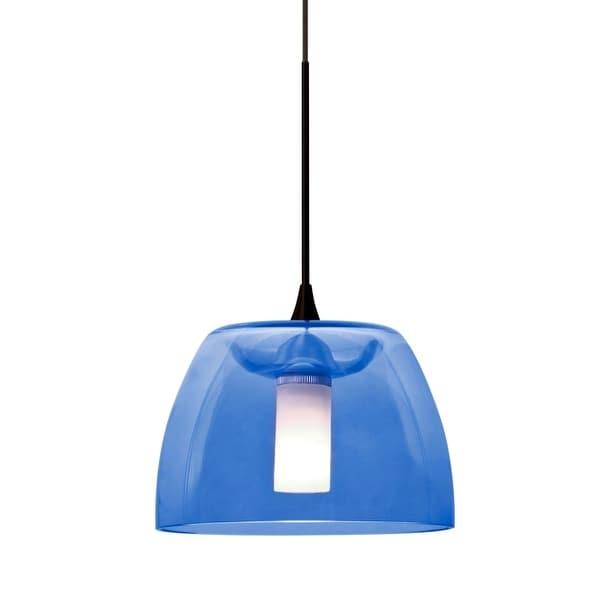 Besa Lighting 1XT-SPURBL Spur Single Light Mini Pendant with Blue Glass Shade