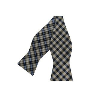 Countess Mara NEW Beige Mens One Size Reversible Gingham Plaid Bow Tie
