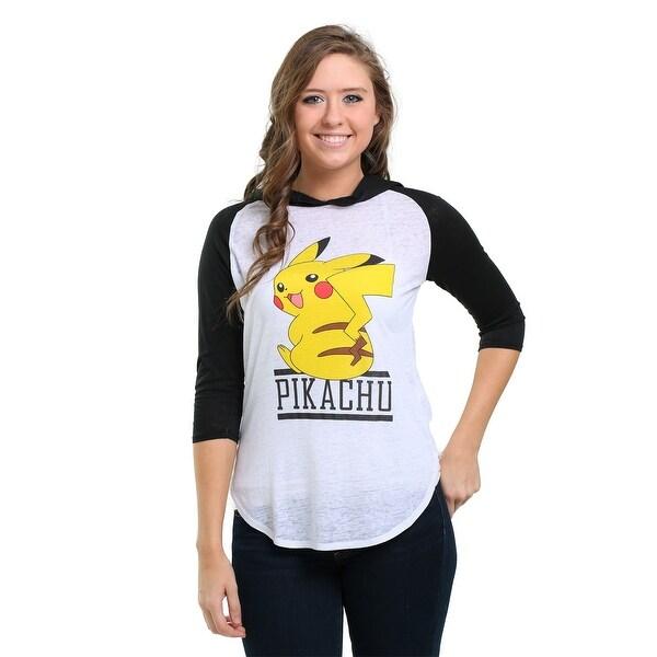 Pokemon Pikachu Smile Juniors Hooded Raglan Shirt