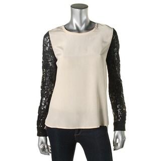 Diane Von Furstenberg Womens Silk Lace Trim Blouse - 2