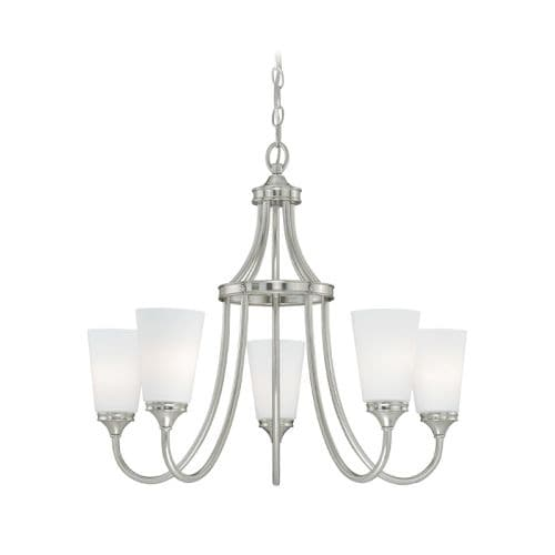 Vaxcel Lighting H0054 Lorimer 5 Light Single Tier Chandelier with Frosted Glass Shades - 26 Inches Wide