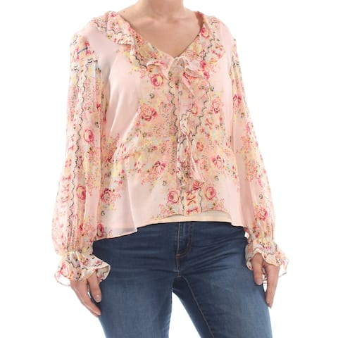 0a48bb8f NANETTE LEPORE Womens Coral Ruffled Floral Long Sleeve V Neck Wear To Work  Top Size: