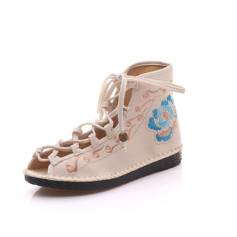 Women's Chinese Ethnic Embroidery Flat Ballet Marry Janes Cheongsam Dancing Shoes Fish Mouth