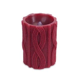 """4"""" Burgundy Red Cable Knit Battery Operated Flameless LED Wax Christmas Pillar Candle"""