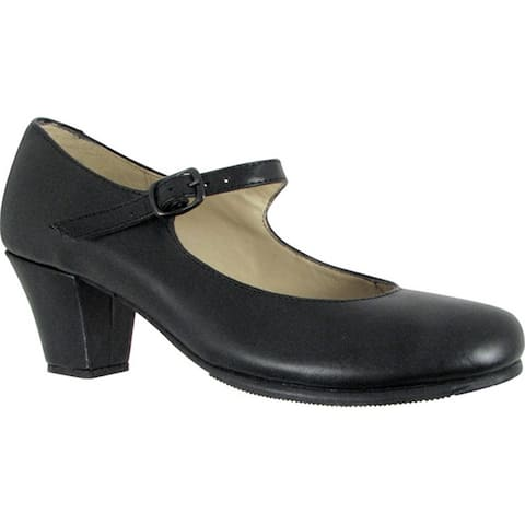 Black Leather Upper Covered Wooden Heel Folklorical Shoes 5-11 Womens
