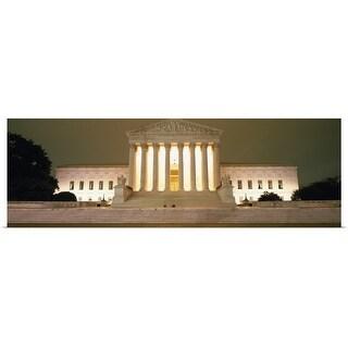 Poster Print entitled Supreme Court Building illuminated at night, Washington DC - multi-color