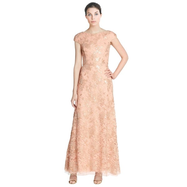 Shop Vera Wang Sequined Lace Cap Sleeve Evening Gown Dress - 14 ...