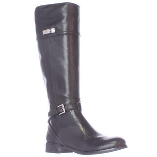 Coach Micha Buckle Strap Riding Boots, Black