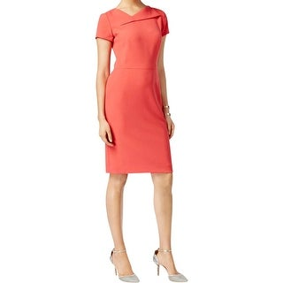 Tahari ASL Womens Wear to Work Dress Crepe Asymmetrical