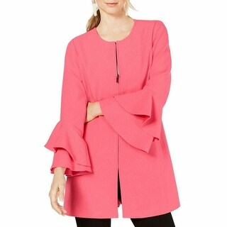 Link to Alfani Womens Jacket Pink Size XL Flared-Sleeve Collarless Full-Zip Similar Items in Women's Outerwear