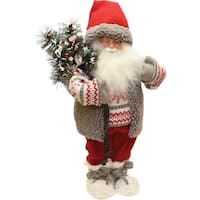 "19"" Santa in Winter Vest with Sack of Pine Christmas Figure Decoration"