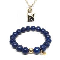 Blue Jade Bracelet & Cat Gold Charm Necklace Set