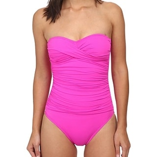 La Blanca NEW Pink Women's Size 8 Ruched Knot One-Piece Swimwear