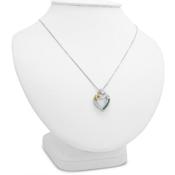 14Kt Rose Gold Plated Alexandrite /& Diamond Heart Mom Pendant