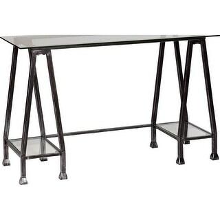 Southern Enterprises HO8778 Metal/Glass A-Frame Desk - Distressed Black