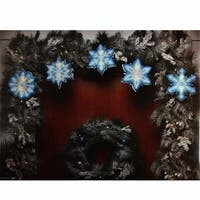 Blue and White Shimmering Snowflake Christmas Light Garland with 0