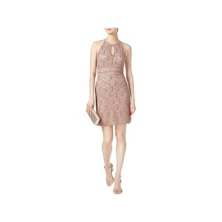 Nightway Womens Petites Cocktail Dress Lace Halter