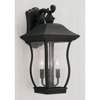 Designers fountain outdoor lighting for less overstock designers fountain 2722 bk 3 light 9 cast aluminum cast wall lantern from the aloadofball Image collections