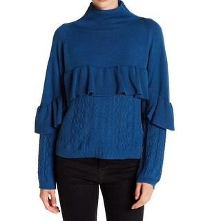 Project Naadam NEW Blue Womens Size Small S Mock-Neck Ruffle Sweater