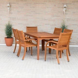 Link to Tottenville 7-piece Eucalyptus Wood Rectangular Dining Set by Havenside Home Similar Items in Patio Furniture
