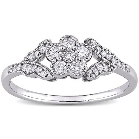 Miadora Sterling Silver 1/4ct TDW Diamond Vintage Floral Ring