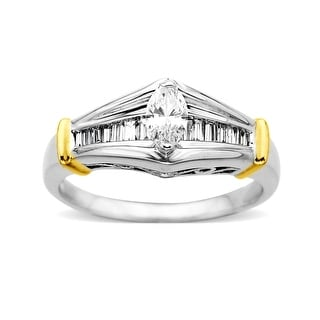 1/2 ct Marquise-Cut Diamond Engagement Ring with Baguette-Cut Diamonds in 14K Two-Tone Gold - Size 7