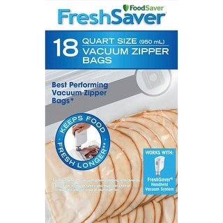 FoodSaver FSFRBZ0216-P00R FreshSaver Vacuum Food Sealer Bag, Clear, 1 Quart