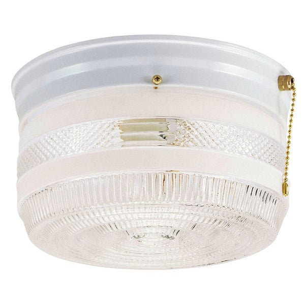 Westinghouse 67345 Interior Flush Mount Ceiling Fixture With Pull Chain, 8-3/4""