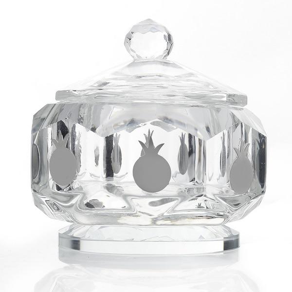 Crystal Honey Dish Silver Octagon Shape w Silver Pomegranates