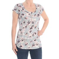 William Rast Blue Womens Size Medium M Floral Short Sleeve Knit Top