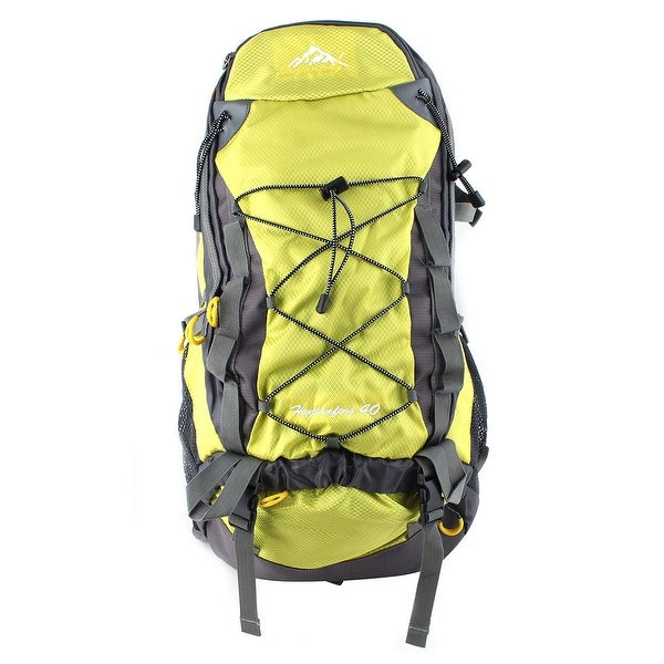 Unique Bargains HWJIANFENG Authorized Water Resistant Bag Hiking Backpack Fluorescent Green 40L