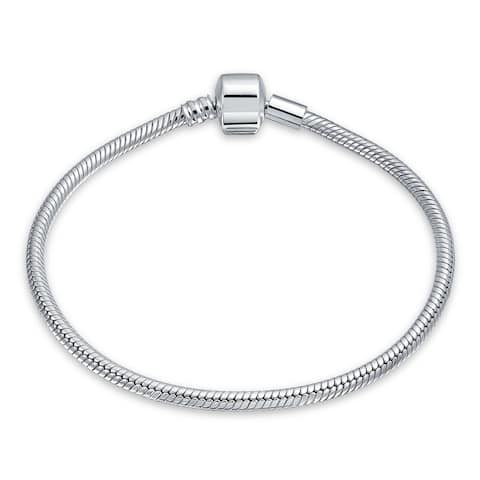 925 Sterling Silver Starter Snake Chain Bracelet For Women Barrel Clasp Fits European Beads Charm 6.5 7 7.5 8 8.5 9 Inch