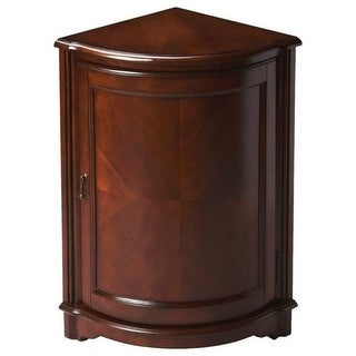 Traditional Quarter Round Wooden Corner Cabinet In Plantation Cherry Finish Dark Brown Ping The Best Deals On Coffee Sofa