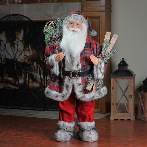 3' Alpine Chic Standing Santa Claus with Frosted Pine, Snowshoes and Skis Christmas Figure - RED