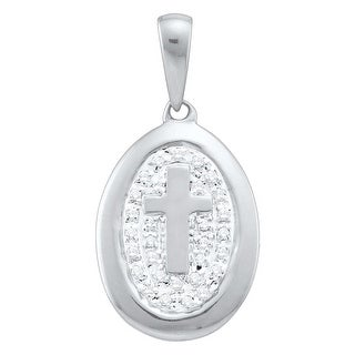 Oval Shape Cross Pendant 10K White-gold With Diamonds 0.05 Ctw By MidwestJewellery - White