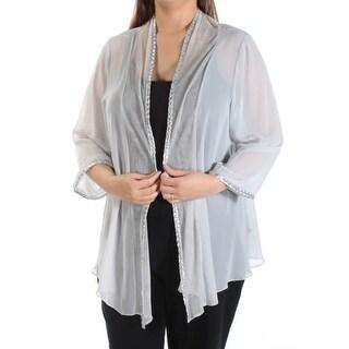 SLNY Womens New 1446 Silver Embellished Pleated Long Sleeve Top 16W Plus B+B