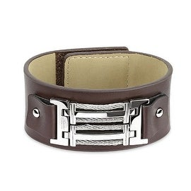 Brown Leather Bracelet with Barbed Wire Buckle Wrap and Velcro Closure (35 mm) - 8.5 in