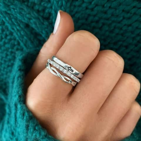 Slate and Tell Just Believe Ring Stack in Sterling Silver and Cubic Zirconia (Sizes 6/7/8)
