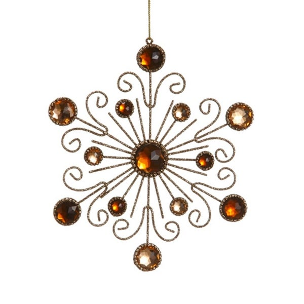 """6"""" Royal Symphony Bronze Gold Glittered and Jeweled Snowflake Christmas Ornament"""